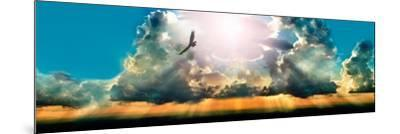Eagle Flying in the Sky with Clouds at Sunset--Mounted Photographic Print