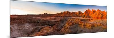 Rock Formations on a Landscape at Sunrise, Door Trail, Badlands National Park, South Dakota, USA--Mounted Photographic Print