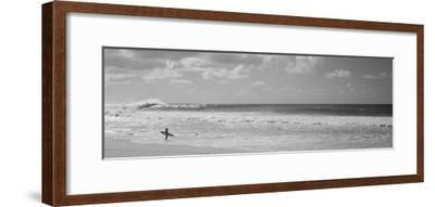 Surfer Standing on the Beach, North Shore, Oahu, Hawaii, USA--Framed Premium Photographic Print