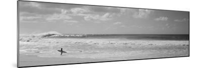 Surfer Standing on the Beach, North Shore, Oahu, Hawaii, USA--Mounted Premium Photographic Print