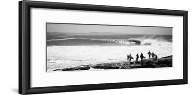 Silhouette of Surfers Standing on the Beach, Australia--Framed Photographic Print