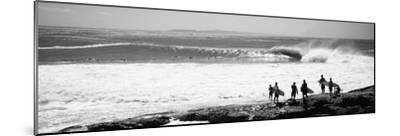 Silhouette of Surfers Standing on the Beach, Australia--Mounted Photographic Print