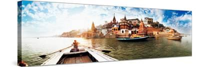 Boats in the Ganges River, Varanasi, Uttar Pradesh, India--Stretched Canvas Print