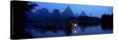 Fisherman Fishing at Night, Li River , China--Stretched Canvas Print