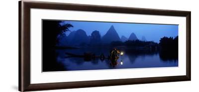 Fisherman Fishing at Night, Li River , China--Framed Photographic Print