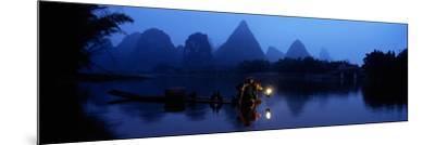 Fisherman Fishing at Night, Li River , China--Mounted Photographic Print