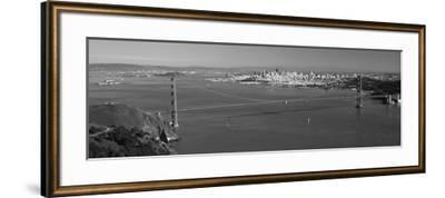 High Angle View of a Suspension Bridge, Golden Gate Bridge, San Francisco, California, USA--Framed Photographic Print