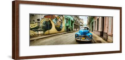Old Car and a Mural on a Street, Havana, Cuba--Framed Photographic Print