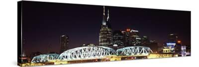 Skylines and Shelby Street Bridge at Night, Nashville, Tennessee, USA 2013--Stretched Canvas Print
