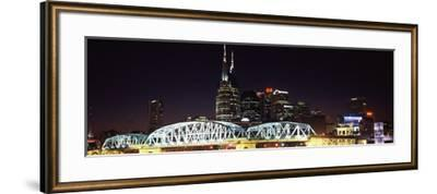 Skylines and Shelby Street Bridge at Night, Nashville, Tennessee, USA 2013--Framed Photographic Print