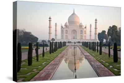 Reflection of a Mausoleum in Water, Taj Mahal, Agra, Uttar Pradesh, India--Stretched Canvas Print