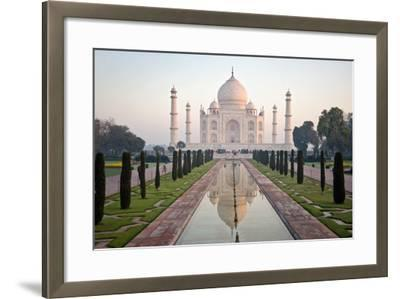 Reflection of a Mausoleum in Water, Taj Mahal, Agra, Uttar Pradesh, India--Framed Photographic Print