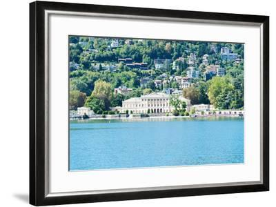 Buildings on a Hill, Villa Olmo, Lake Como, Lombardy, Italy--Framed Photographic Print