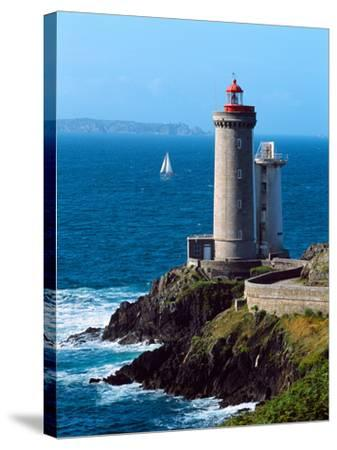 Lighthouse at the Coast, Phare Du Petit Minou, Goulet De Brest, Finistere, Brittany, France--Stretched Canvas Print