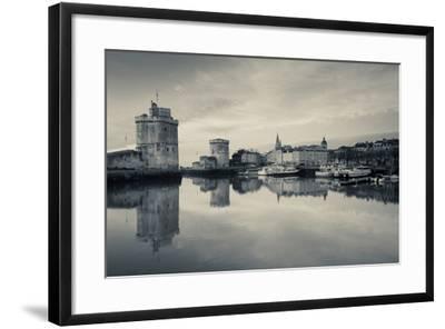 Tour St-Nicholas and Tour De La Chaine Towers at Dawn, Old Port, La Rochelle, Charente-Maritime--Framed Photographic Print