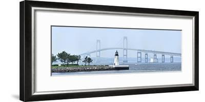 Goat Island Lighthouse with Claiborne Pell Bridge in the Background, Newport, Rhode Island, USA--Framed Photographic Print