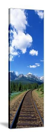 Rail Road Tracks Banff National Park Alberta Canada--Stretched Canvas Print