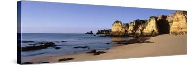 Rock Formations on the Coast, Algarve, Lagos, Portugal--Stretched Canvas Print