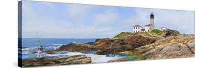 Lighthouse on the Coast, Beavertail Lighthouse, Narragansett Bay, Jamestown Island--Stretched Canvas Print