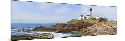 Lighthouse on the Coast, Beavertail Lighthouse, Narragansett Bay, Jamestown Island--Mounted Photographic Print