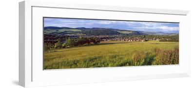 Fields with a Town in the Background, Peebles, Scottish Borders, Scotland--Framed Photographic Print
