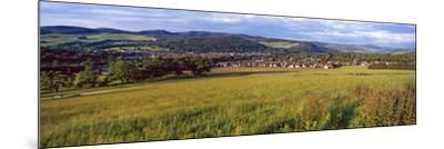 Fields with a Town in the Background, Peebles, Scottish Borders, Scotland--Mounted Photographic Print