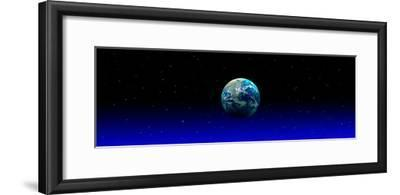 Earth in Space with Blue Mist (Photo Illustration)--Framed Photographic Print