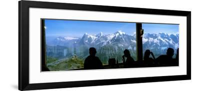 Tourists at Schilthorn 007 Restaurant with Mt Eiger Mt Monch Mt Jungfrau in the Background--Framed Photographic Print
