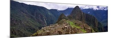 Ruins of Buildings at an Archaeological Site, Inca Ruins, Machu Picchu, Cusco Region, Peru--Mounted Photographic Print