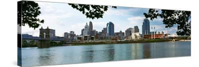 City at the Waterfront, Ohio River, Cincinnati, Hamilton County, Ohio, USA--Stretched Canvas Print