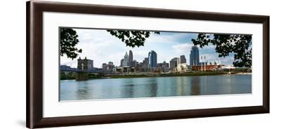 City at the Waterfront, Ohio River, Cincinnati, Hamilton County, Ohio, USA--Framed Photographic Print
