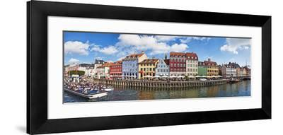 Tourists in a Tourboat with Buildings Along a Canal, Nyhavn, Copenhagen, Denmark--Framed Photographic Print