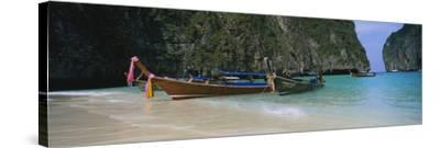 Longtail Boats Moored on the Beach, Ton Sai Beach, Ko Phi Phi Don, Phi Phi Islands, Thailand--Stretched Canvas Print