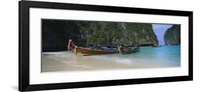 Longtail Boats Moored on the Beach, Ton Sai Beach, Ko Phi Phi Don, Phi Phi Islands, Thailand--Framed Photographic Print