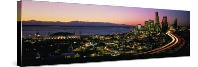 Sunset Skyline Seattle Wa USA--Stretched Canvas Print