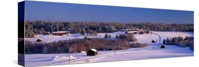 Snowy Rural Landscape Oestra Tavelsjoe Sweden--Stretched Canvas Print