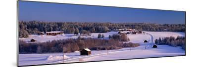 Snowy Rural Landscape Oestra Tavelsjoe Sweden--Mounted Photographic Print