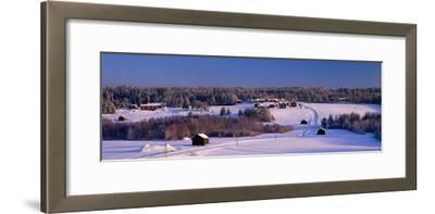 Snowy Rural Landscape Oestra Tavelsjoe Sweden--Framed Photographic Print