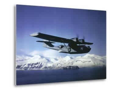 Us Navy Pby Catalina Bomber in Flight--Metal Print