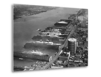 View of West Side Piers at New York City Harbor--Metal Print