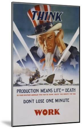 Production Means Life or Death Poster-C. Chickering-Mounted Giclee Print