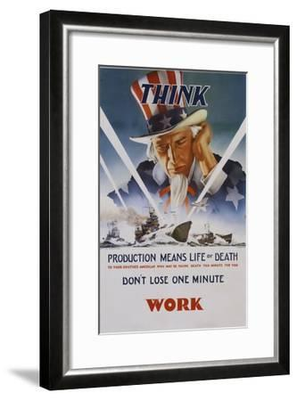 Production Means Life or Death Poster-C. Chickering-Framed Giclee Print