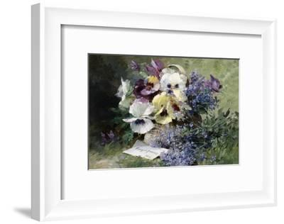 Pansies and Forget Me Not-Albert Tibulle de Furcy Lavault-Framed Giclee Print