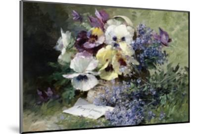 Pansies and Forget Me Not-Albert Tibulle de Furcy Lavault-Mounted Giclee Print