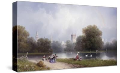 Westminster from St. James's Park-Carlo Bossoli-Stretched Canvas Print