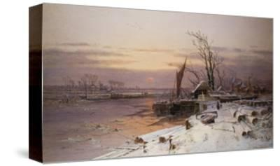 On the Estuary, Near Monmouth-Charles Brooke Branwhite-Stretched Canvas Print