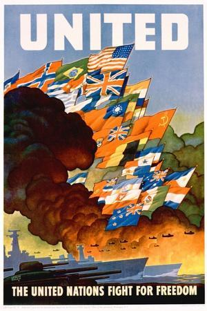 United - the United Nations Fight for Freedom Poster-Leslie Darrell Ragan-Stretched Canvas Print