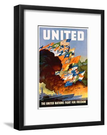United - the United Nations Fight for Freedom Poster-Leslie Darrell Ragan-Framed Giclee Print