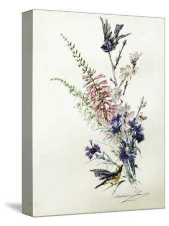 A Study of Heather, Cornflower, and Blossom-Madeleine Lemaire-Stretched Canvas Print
