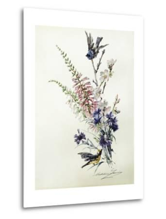 A Study of Heather, Cornflower, and Blossom-Madeleine Lemaire-Metal Print
